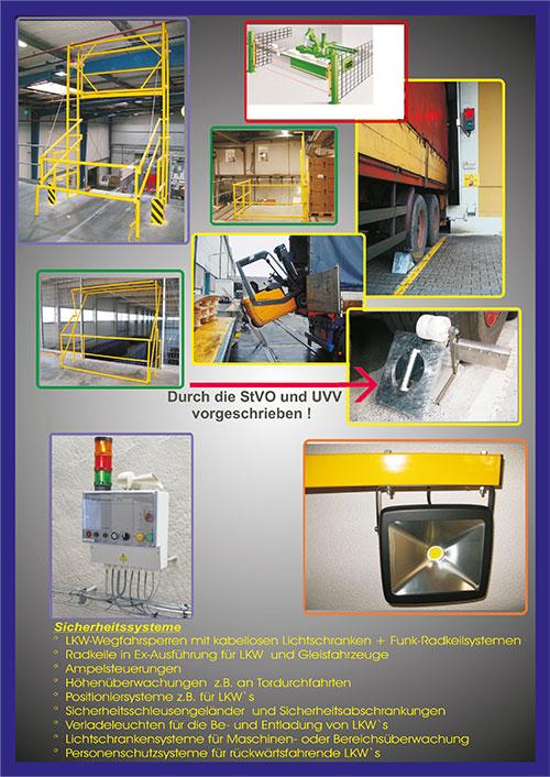 Wir, die Firma Schubert, technical system haben uns die Aufgabe gestellt Sicherheitstechniken zu entwickeln, die den Warenumschlag an Lagebühnen sicher machen. Hierfür haben wir Systeme konstruiert bei denen wir auf Erfahrungen aus ca. 25 Jahren Warenumschlag zurückgreifen können.